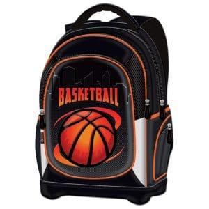 Ruksak školski anatomski lagan Basketball Team Connect crno-narančasti