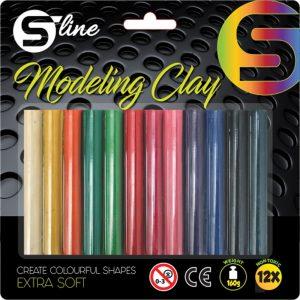 Plastelin S-LINE 12 boja,okrugli