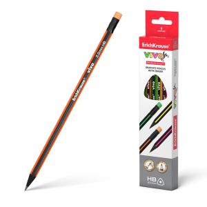 Olovka grafitna HB ERICHKRAUSE VIVO trokutasta s gumicom sort