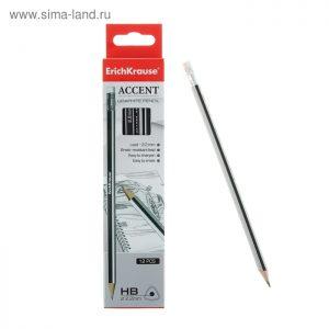 Erich Krause HB ACCENT set crnih olovki 12 komada s gumicom