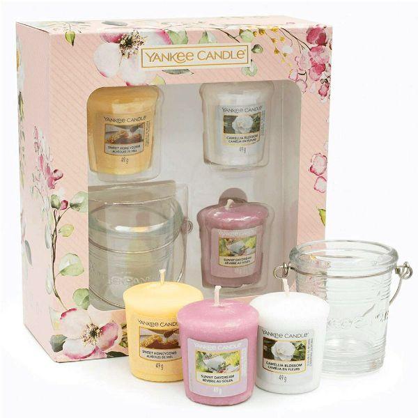 POKLON SET Yankee Candle 3 svijeće/49gr + svijećnjak, Garden Hideaway
