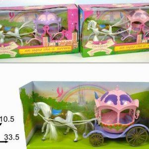 Igračka za lutke kočija za princezu s konjem